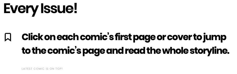 Image of the all comics page organized in descending order